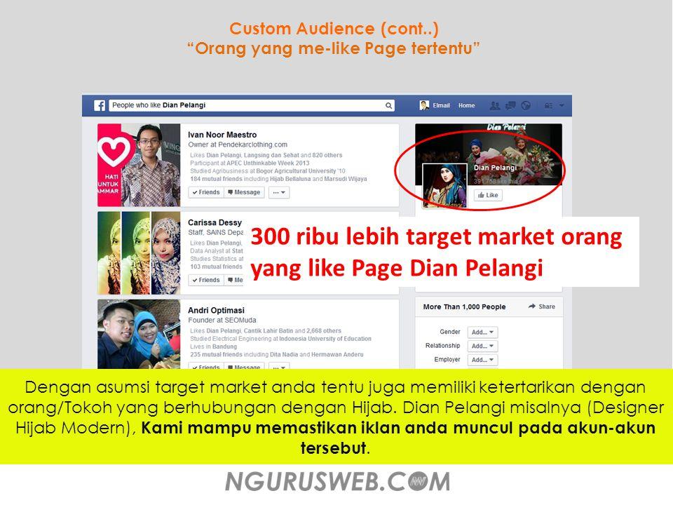 Custom Audience (cont..) Orang yang me-like Page tertentu Dengan asumsi target market anda tentu juga memiliki ketertarikan dengan orang/Tokoh yang berhubungan dengan Hijab.