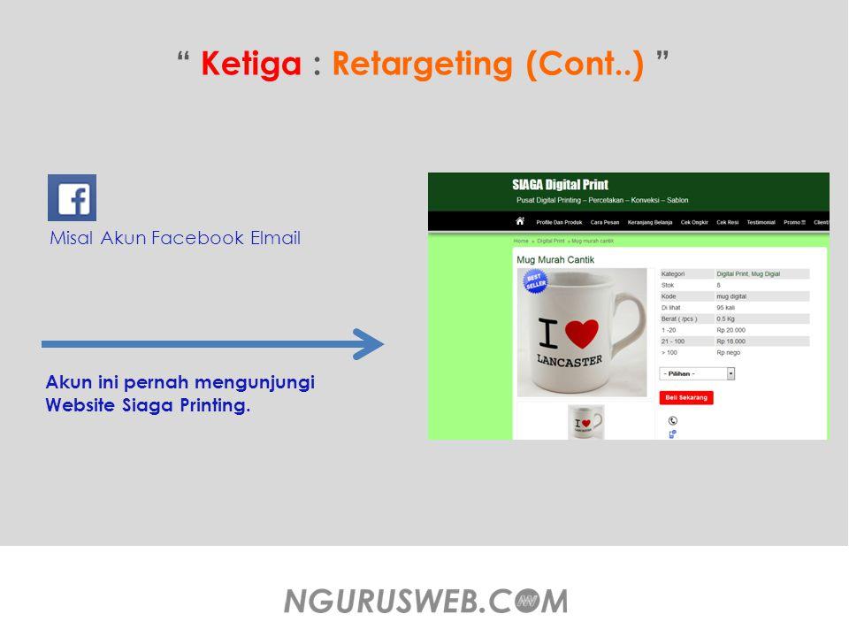 Ketiga : Retargeting (Cont..) Misal Akun Facebook Elmail Akun ini pernah mengunjungi Website Siaga Printing.