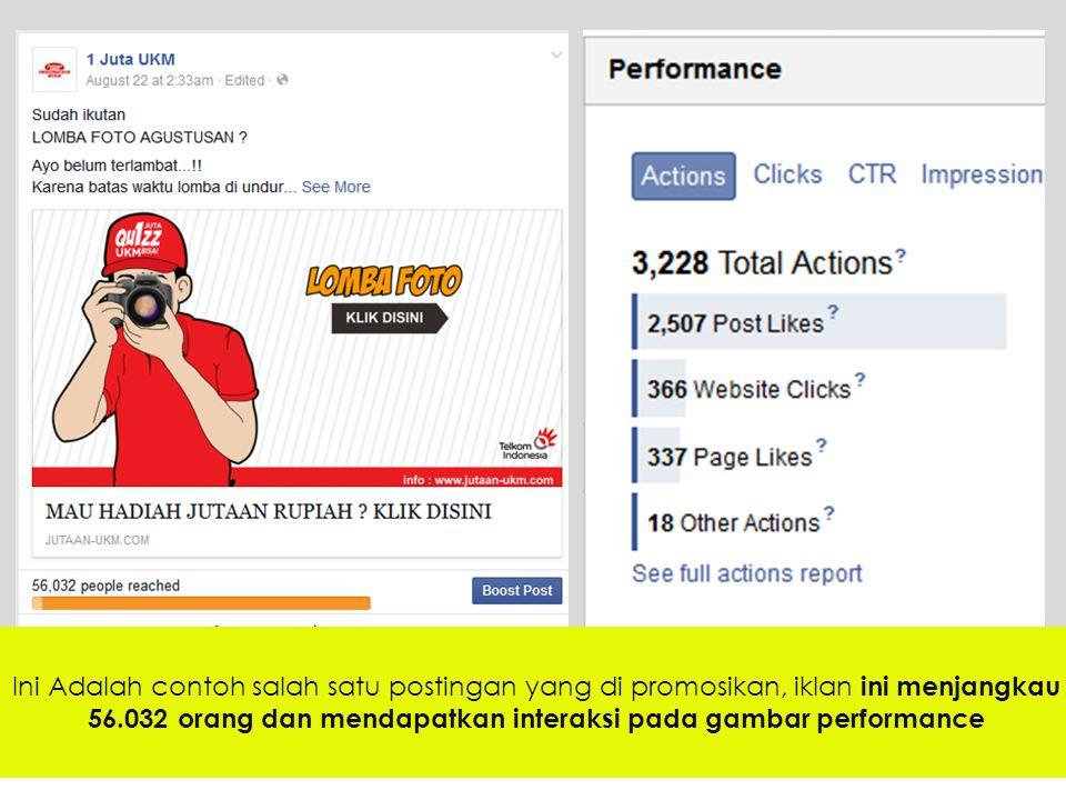 Ini Adalah contoh salah satu postingan yang di promosikan, iklan ini menjangkau 56.032 orang dan mendapatkan interaksi pada gambar performance