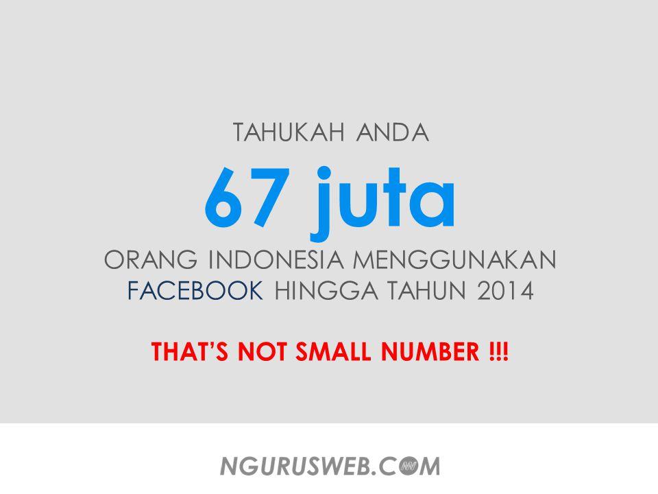 TAHUKAH ANDA 67 juta ORANG INDONESIA MENGGUNAKAN FACEBOOK HINGGA TAHUN 2014 THAT'S NOT SMALL NUMBER !!!