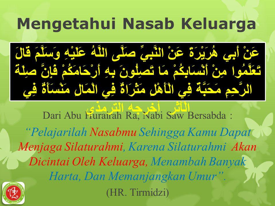 "Mengetahui Nasab Keluarga Dari Abu Hurairah Ra, Nabi Saw Bersabda : ""Pelajarilah Nasabmu Sehingga Kamu Dapat Menjaga Silaturahmi, Karena Silaturahmi A"