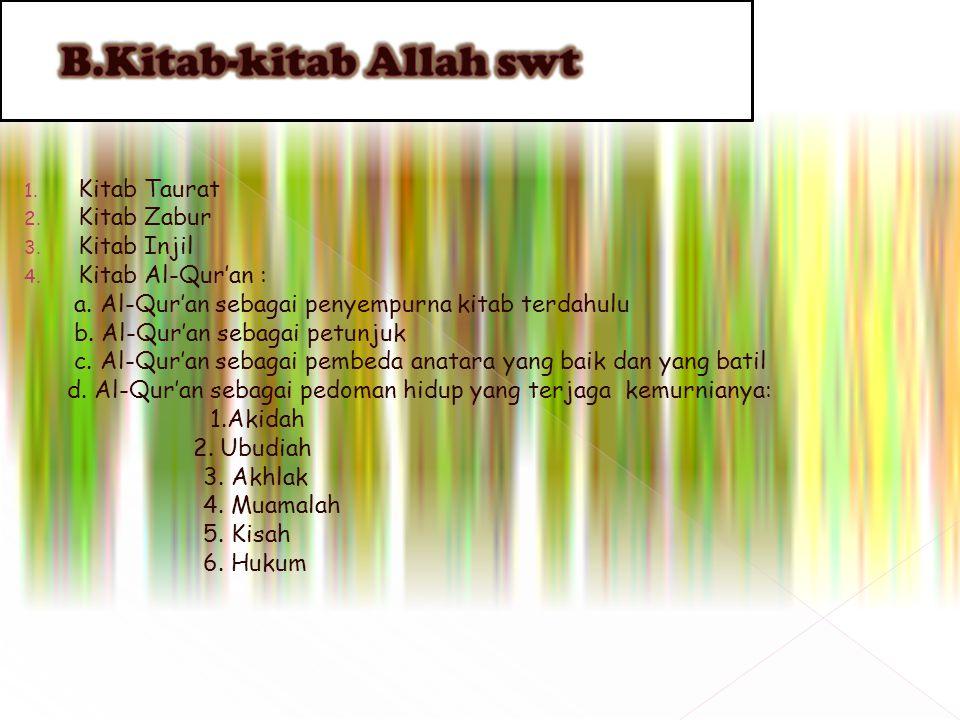 1. Kitab Taurat 2. Kitab Zabur 3. Kitab Injil 4. Kitab Al-Qur'an : a. Al-Qur'an sebagai penyempurna kitab terdahulu b. Al-Qur'an sebagai petunjuk c. A