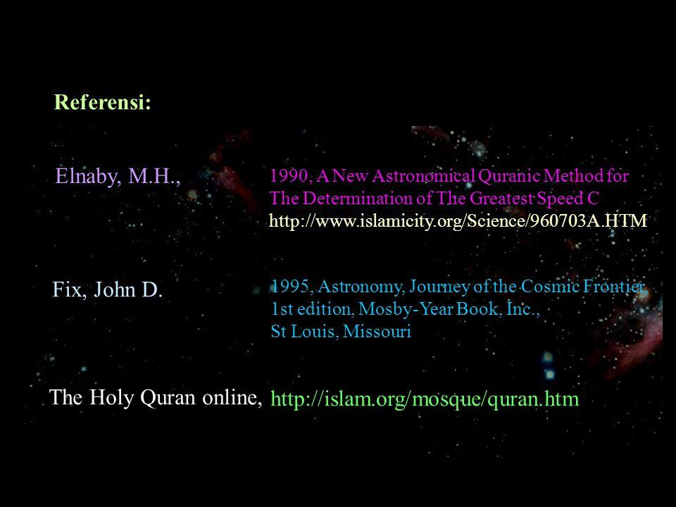 Kesimpulan (dari Artikel Prof Elnaby) Perhitungan ini membuktikan keakuratan dan konsistensi nilai konstanta C hasil pengukuran selama ini dan juga menunjukkan kebenaran Al-Qur'anul Karim sebagai wahyu yang patut dipelajari dengan analisis yang tajam karena penulisnya adalah Sang Pencipta alam semesta.