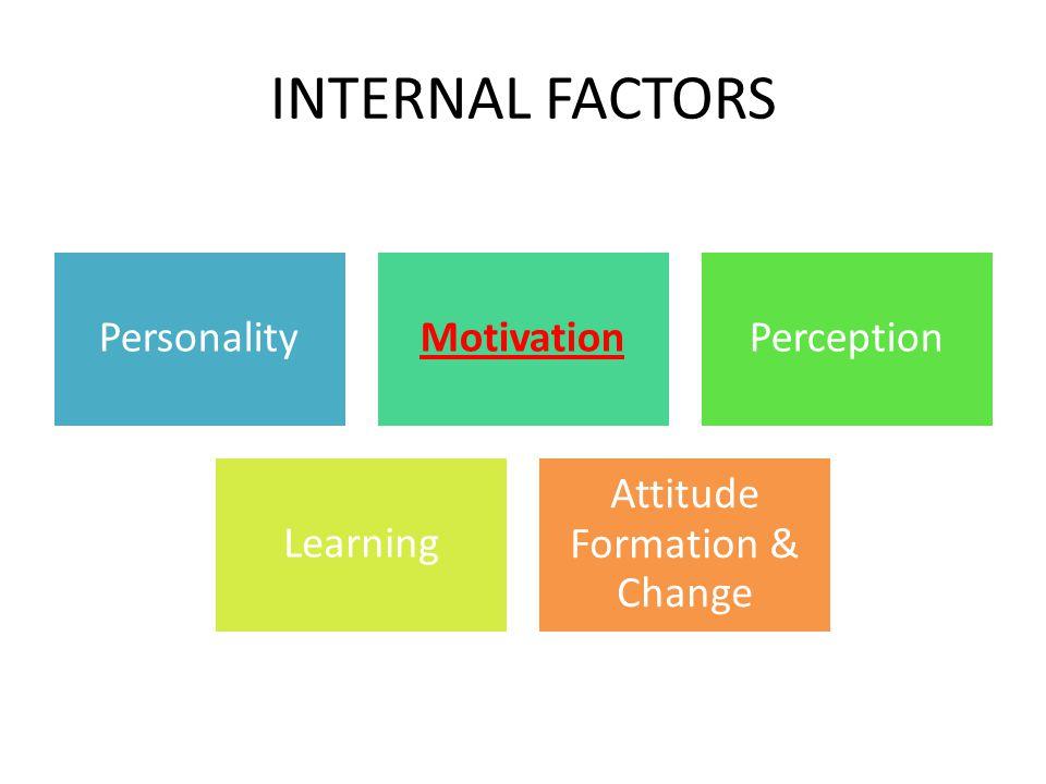 INTERNAL FACTORS PersonalityMotivationPerception Learning Attitude Formation & Change