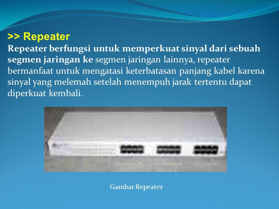 >> Repeater Repeater berfungsi untuk memperkuat sinyal dari sebuah segmen jaringan ke segmen jaringan lainnya, repeater bermanfaat untuk mengatasi ket