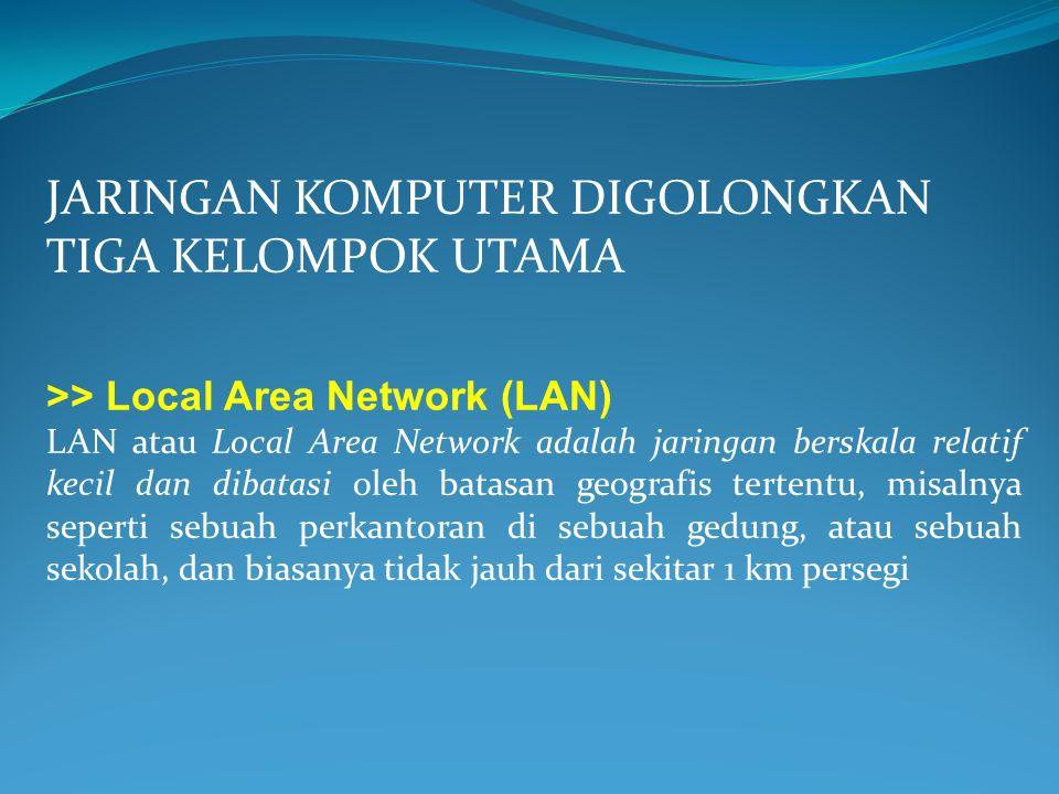 JARINGAN KOMPUTER DIGOLONGKAN TIGA KELOMPOK UTAMA >> Local Area Network (LAN) LAN atau Local Area Network adalah jaringan berskala relatif kecil dan d