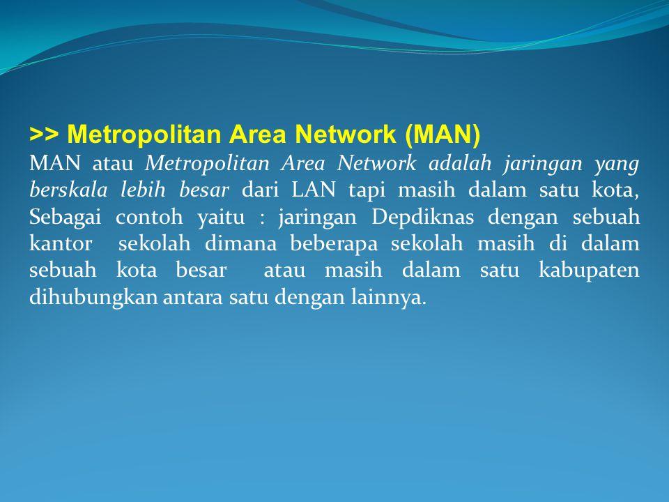 >> Metropolitan Area Network (MAN) MAN atau Metropolitan Area Network adalah jaringan yang berskala lebih besar dari LAN tapi masih dalam satu kota, S