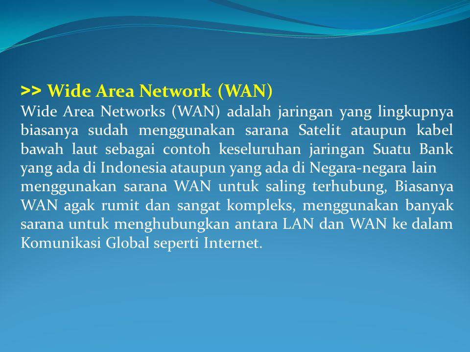 >> Wide Area Network (WAN) Wide Area Networks (WAN) adalah jaringan yang lingkupnya biasanya sudah menggunakan sarana Satelit ataupun kabel bawah laut