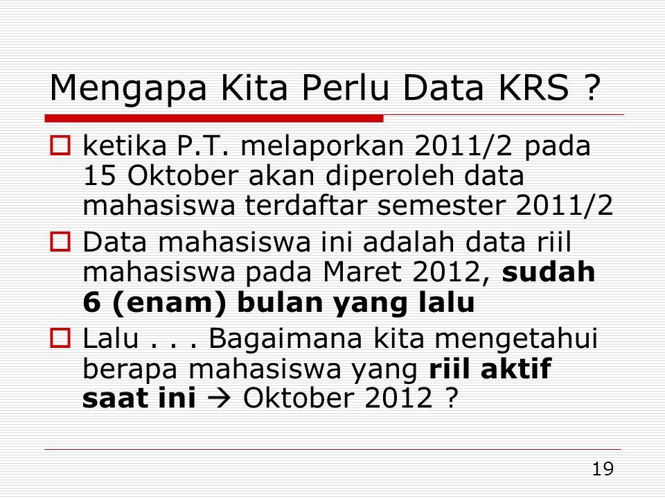 19 Mengapa Kita Perlu Data KRS ?  ketika P.T. melaporkan 2011/2 pada 15 Oktober akan diperoleh data mahasiswa terdaftar semester 2011/2  Data mahasi