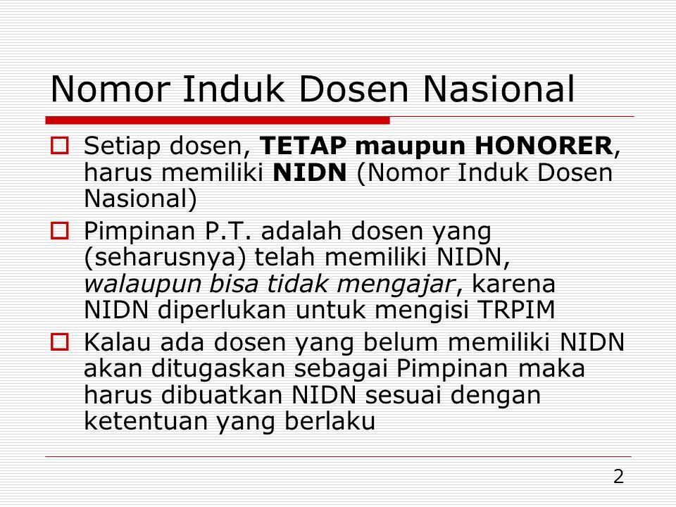 2 Nomor Induk Dosen Nasional  Setiap dosen, TETAP maupun HONORER, harus memiliki NIDN (Nomor Induk Dosen Nasional)  Pimpinan P.T. adalah dosen yang