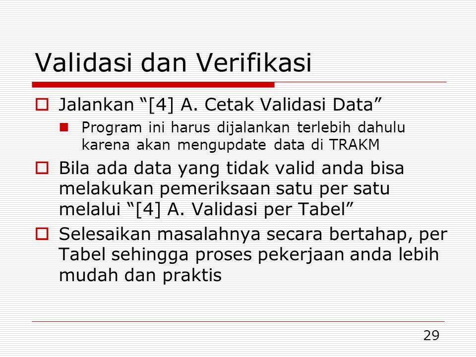 """29 Validasi dan Verifikasi  Jalankan """"[4] A. Cetak Validasi Data"""" Program ini harus dijalankan terlebih dahulu karena akan mengupdate data di TRAKM """