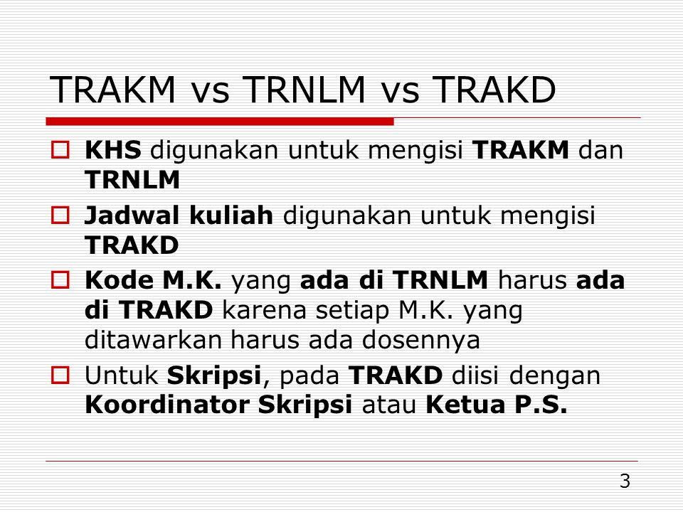 14 Verifikasi AKM-NLM-KRS-LSM  Pada verifikasi ini akan terbaca: Jumlah mahasiswa di TRAKM 2012/1 = TRNLM 2012/1  Karena mahasiswa yang ada di TRAKM pasti ada nilainya di TRNLM, dan sebaliknya Setiap mahasiswa harus ada statusnya dari satu semester ke semester berikutnya Pada 2012/1 ada mahasiswa yang:  Kuliah/skripsi (ada di TRAKM dan TRNLM)  Lulus (ada di TRAKM, TRNLM, TRLSM)  C/N/K/D (ada di TRLSM)