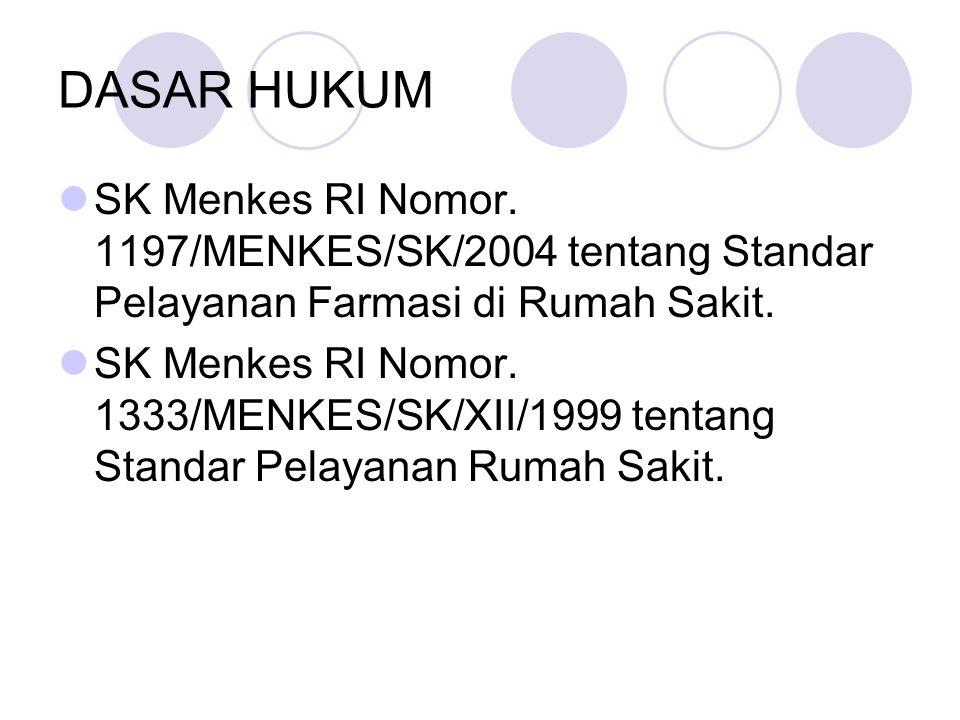 DASAR HUKUM SK Menkes RI Nomor. 1197/MENKES/SK/2004 tentang Standar Pelayanan Farmasi di Rumah Sakit. SK Menkes RI Nomor. 1333/MENKES/SK/XII/1999 tent