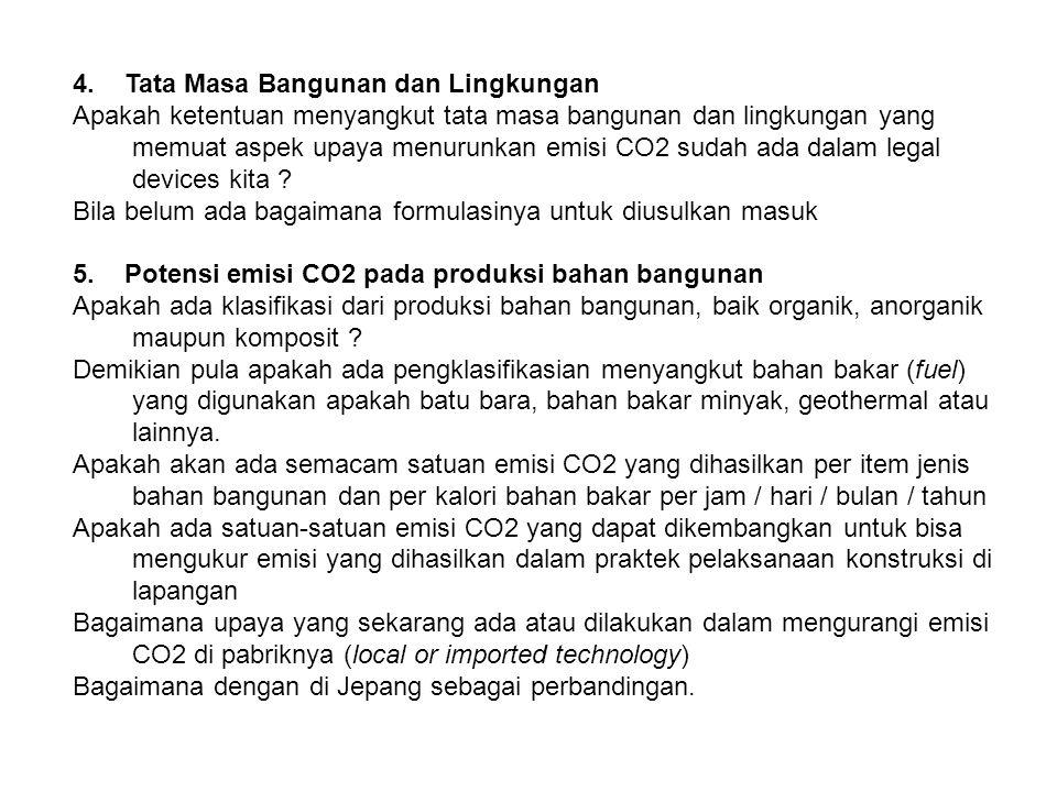 4. Tata Masa Bangunan dan Lingkungan Apakah ketentuan menyangkut tata masa bangunan dan lingkungan yang memuat aspek upaya menurunkan emisi CO2 sudah