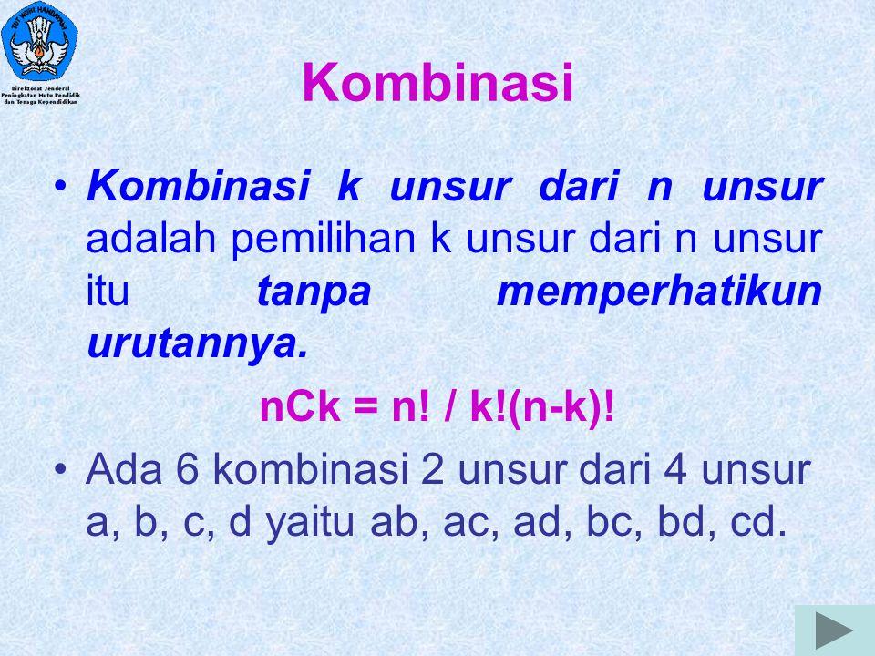 10 Kombinasi Kombinasi k unsur dari n unsur adalah pemilihan k unsur dari n unsur itu tanpa memperhatikun urutannya. nCk = n! / k!(n-k)! Ada 6 kombina