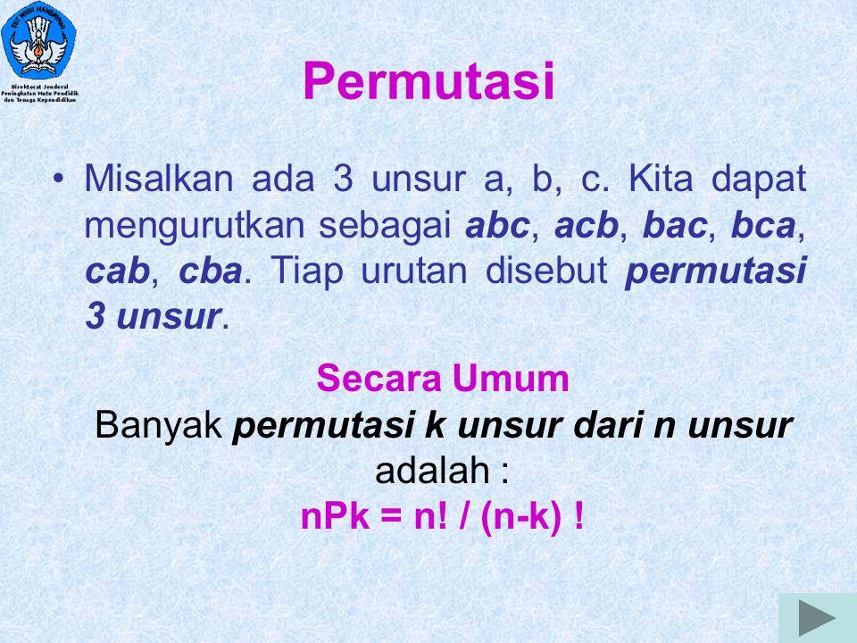 4 Permutasi Misalkan ada 3 unsur a, b, c. Kita dapat mengurutkan sebagai abc, acb, bac, bca, cab, cba. Tiap urutan disebut permutasi 3 unsur. Secara U