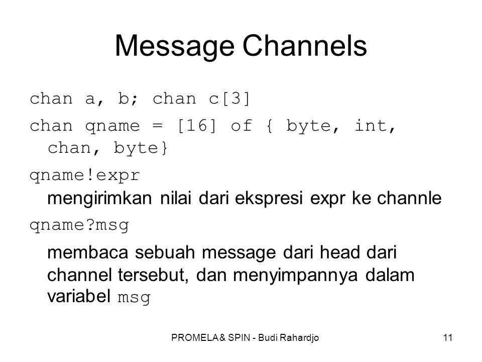 PROMELA & SPIN - Budi Rahardjo11 Message Channels chan a, b; chan c[3] chan qname = [16] of { byte, int, chan, byte} qname!expr mengirimkan nilai dari