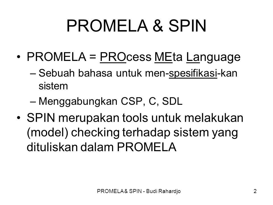 PROMELA & SPIN - Budi Rahardjo2 PROMELA & SPIN PROMELA = PROcess MEta Language –Sebuah bahasa untuk men-spesifikasi-kan sistem –Menggabungkan CSP, C,