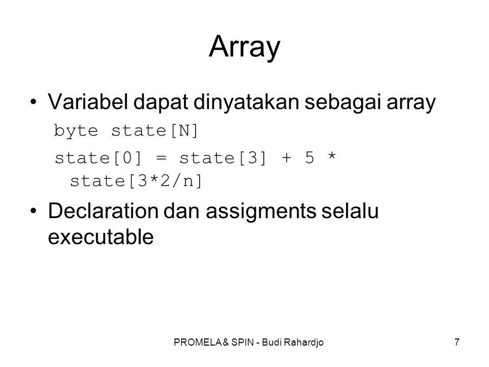 PROMELA & SPIN - Budi Rahardjo8 Process proctype A() { byte state; state = 3} merupakan deklarasi sebuah proses dengan sebuah variable yang bernama state Tanda titik koma (semicolon) merupakan statement separator (bukan statement terminator).