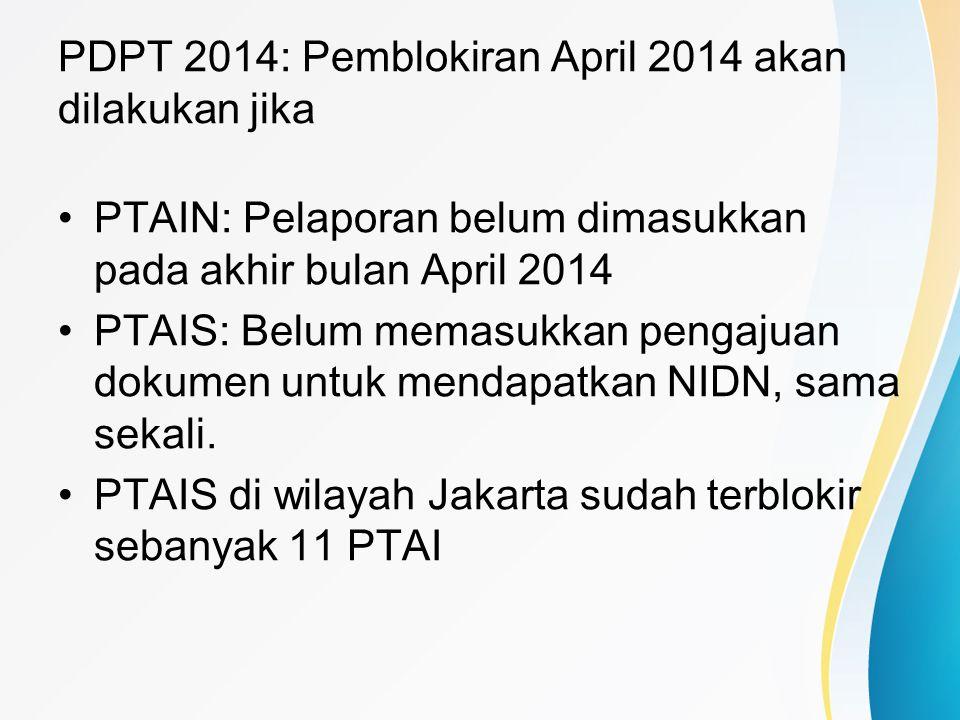 PDPT 2014: Pemblokiran April 2014 akan dilakukan jika PTAIN: Pelaporan belum dimasukkan pada akhir bulan April 2014 PTAIS: Belum memasukkan pengajuan