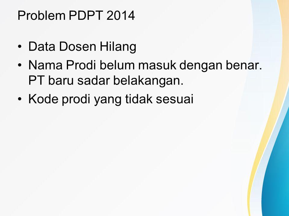 Problem PDPT 2014 Data Dosen Hilang Nama Prodi belum masuk dengan benar. PT baru sadar belakangan. Kode prodi yang tidak sesuai