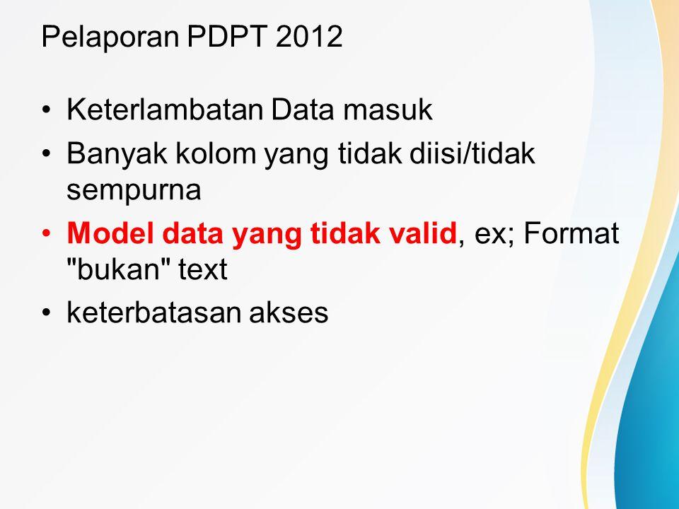 Pelaporan PDPT 2012 Keterlambatan Data masuk Banyak kolom yang tidak diisi/tidak sempurna Model data yang tidak valid, ex; Format