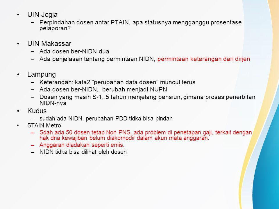 UIN Jogja –Perpindahan dosen antar PTAIN, apa statusnya mengganggu prosentase pelaporan? UIN Makassar –Ada dosen ber-NIDN dua –Ada penjelasan tentang