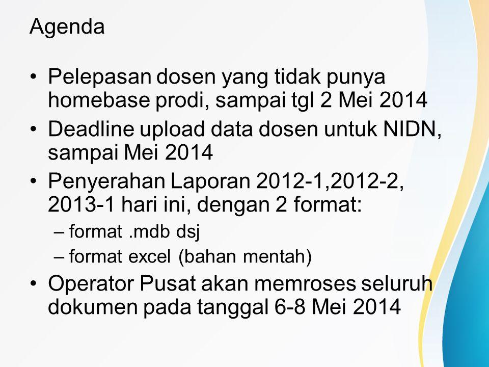 Agenda Pelepasan dosen yang tidak punya homebase prodi, sampai tgl 2 Mei 2014 Deadline upload data dosen untuk NIDN, sampai Mei 2014 Penyerahan Lapora