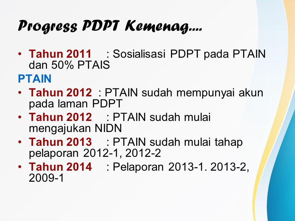 Progress PDPT Kemenag.... Tahun 2011: Sosialisasi PDPT pada PTAIN dan 50% PTAIS PTAIN Tahun 2012 : PTAIN sudah mempunyai akun pada laman PDPT Tahun 20