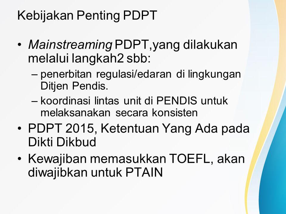 Kebijakan Penting PDPT Mainstreaming PDPT,yang dilakukan melalui langkah2 sbb: –penerbitan regulasi/edaran di lingkungan Ditjen Pendis. –koordinasi li