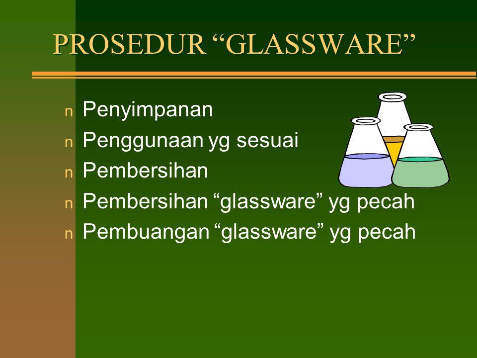 Prosedur atau Peraturan Umum : –makanan dan minuman tdk boleh ada di laboratorium –dilarang memipet dg mulut –tidak boleh bekerja sendirian –mengenakan alat perlindungan diri –dilarang merokok di laboratorium –membiasakan bersih di laboratorium