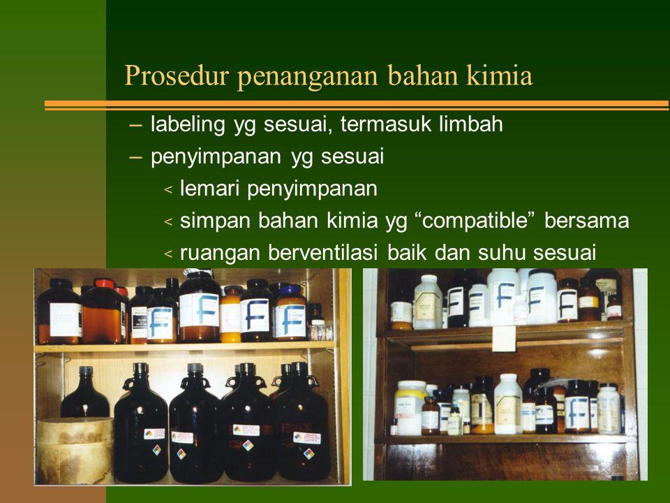 Bahan Laboratorium n Meliputi: –bahan kimia –tanaman –hewan –pathogen –organism