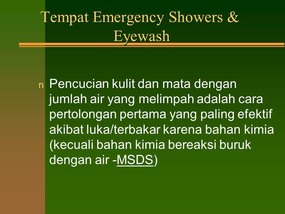 Peralatan Emergency n Selimut api (Fire blankets) n Pemadam api n Sistem pemberitahuan darurat n Sarana komunikasi tidak dibatasi n Peralatan emergency lain diperlukan untuk kebutuhan lab.