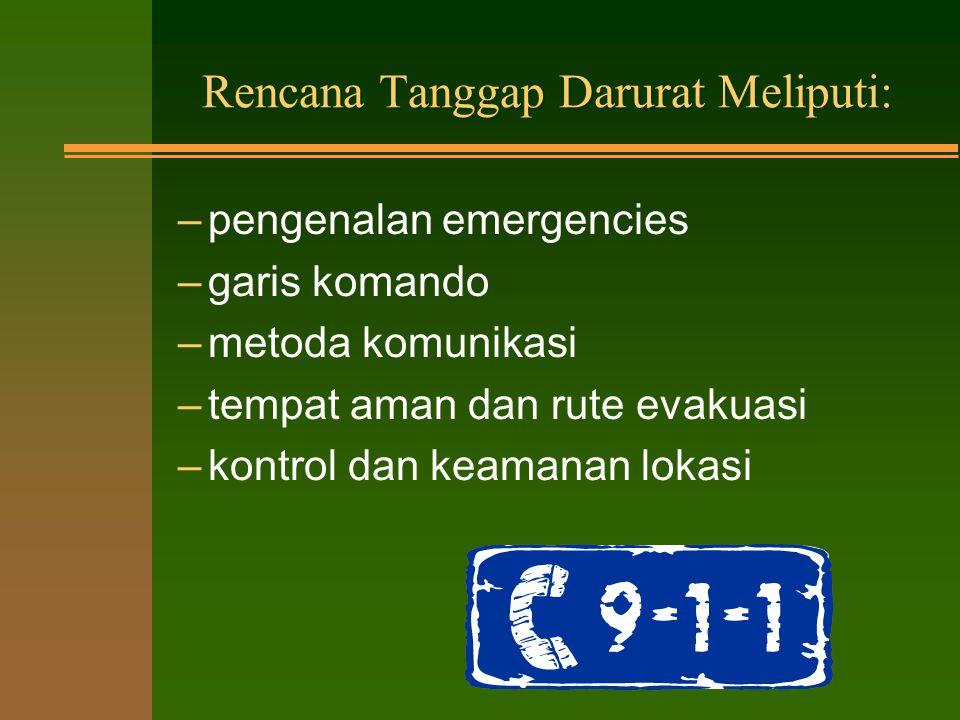 RENCANA TANGGAP DARURAT n institusi harus mengembangkan rencana tanggap darurat SEBELUM terjadi situasi darurat (emergency) n kaji ulang program dengan semua pegawai (mahasiswa, pengguna) pastikan mereka memahami rencana dengan lengkap.