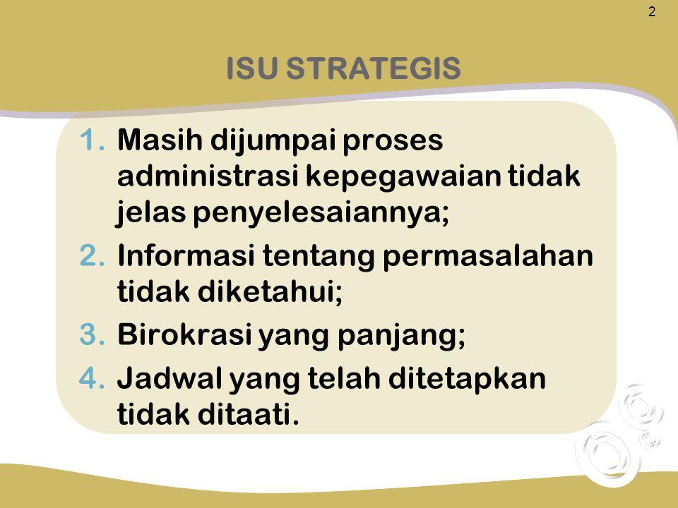 1.Masih dijumpai proses administrasi kepegawaian tidak jelas penyelesaiannya; 2.Informasi tentang permasalahan tidak diketahui; 3.Birokrasi yang panja