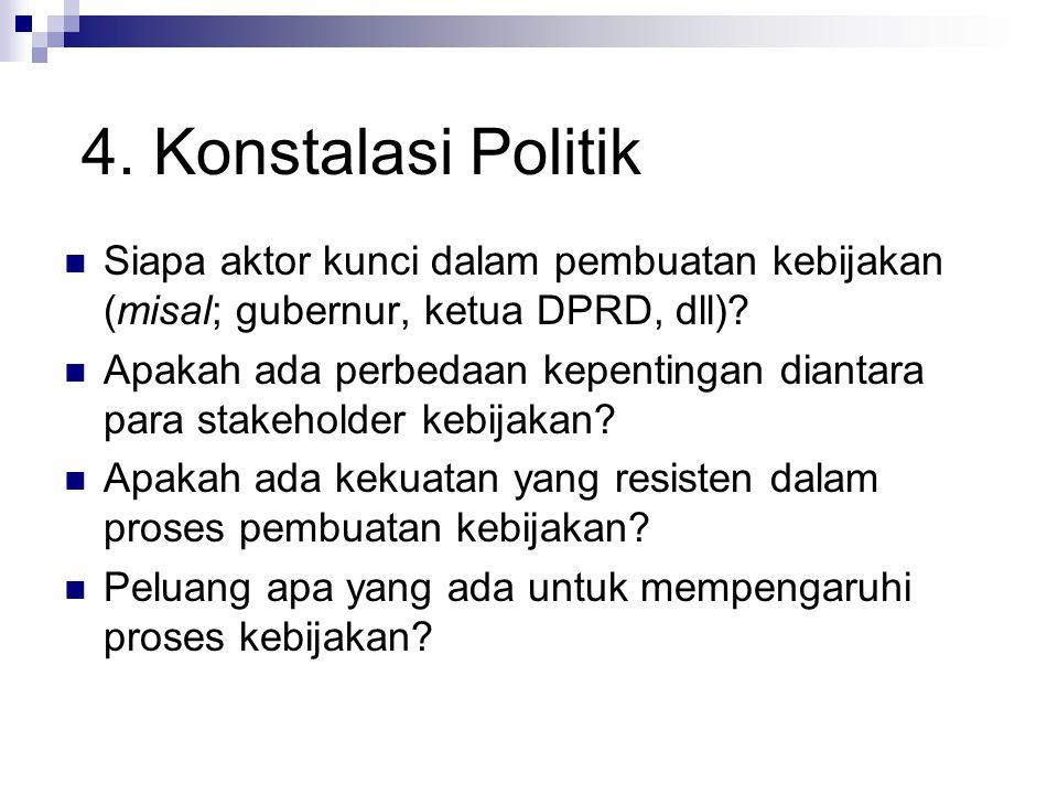 Siapa aktor kunci dalam pembuatan kebijakan (misal; gubernur, ketua DPRD, dll)? Apakah ada perbedaan kepentingan diantara para stakeholder kebijakan?
