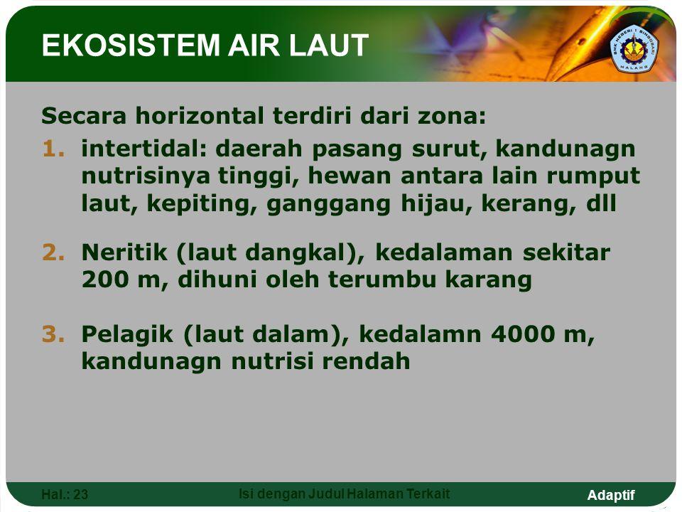 Adaptif Hal.: 23 Isi dengan Judul Halaman Terkait EKOSISTEM AIR LAUT Secara horizontal terdiri dari zona: 1.intertidal: daerah pasang surut, kandunagn