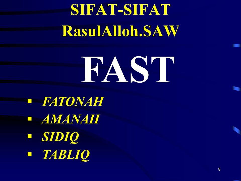 8 SIFAT-SIFAT RasulAlloh.SAW FAST  FATONAH  AMANAH  SIDIQ  TABLIQ