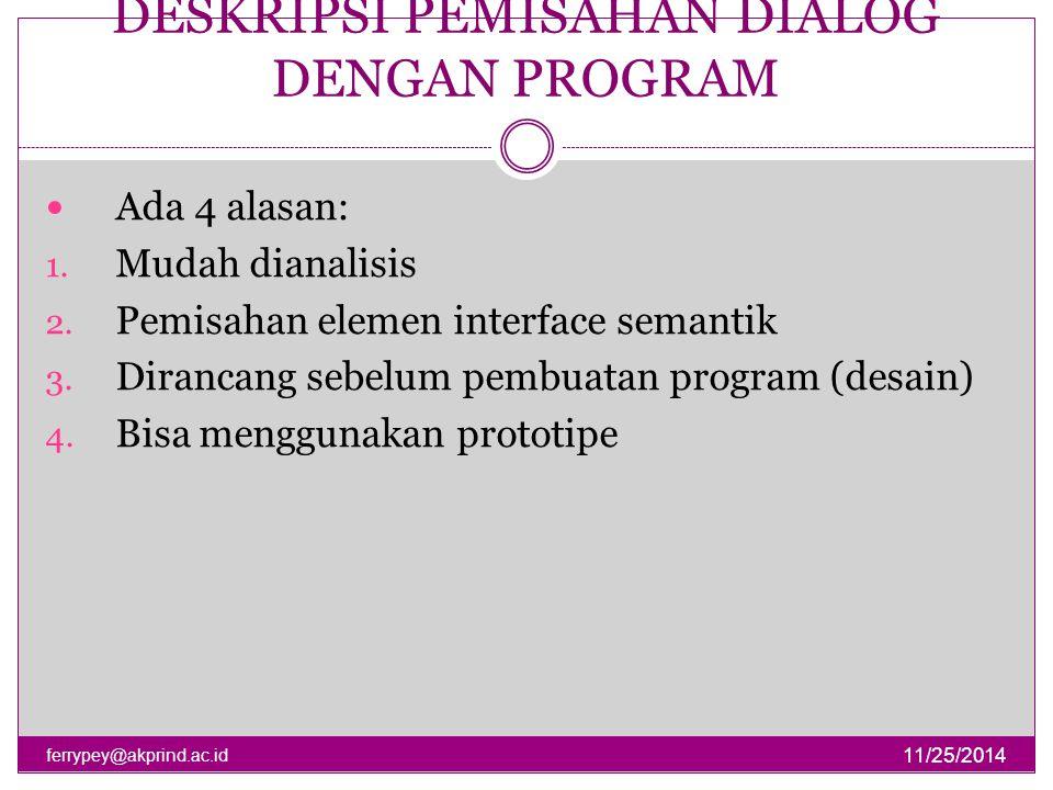 DESKRIPSI PEMISAHAN DIALOG DENGAN PROGRAM 11/25/2014 ferrypey@akprind.ac.id Ada 4 alasan: 1. Mudah dianalisis 2. Pemisahan elemen interface semantik 3