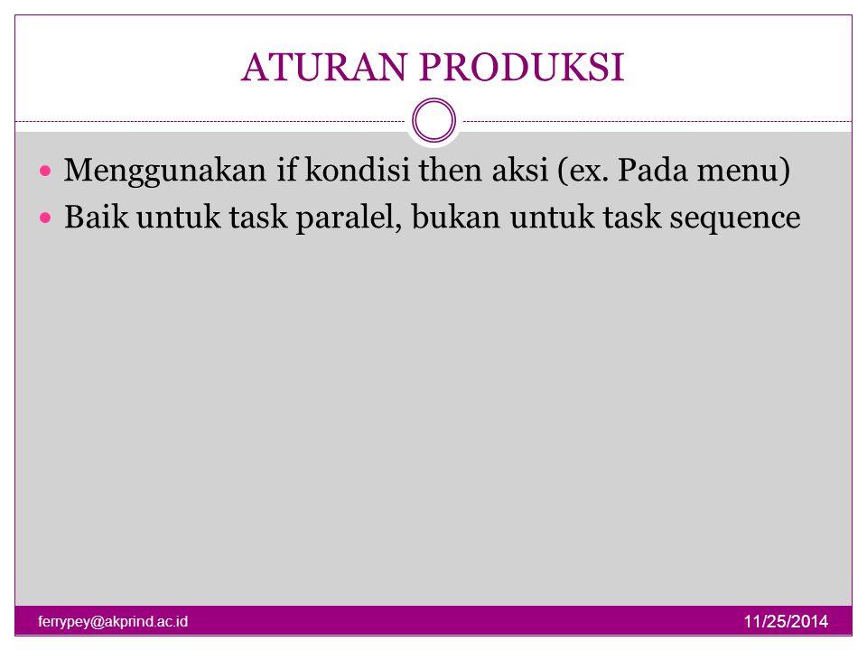 ATURAN PRODUKSI 11/25/2014 ferrypey@akprind.ac.id Menggunakan if kondisi then aksi (ex. Pada menu) Baik untuk task paralel, bukan untuk task sequence