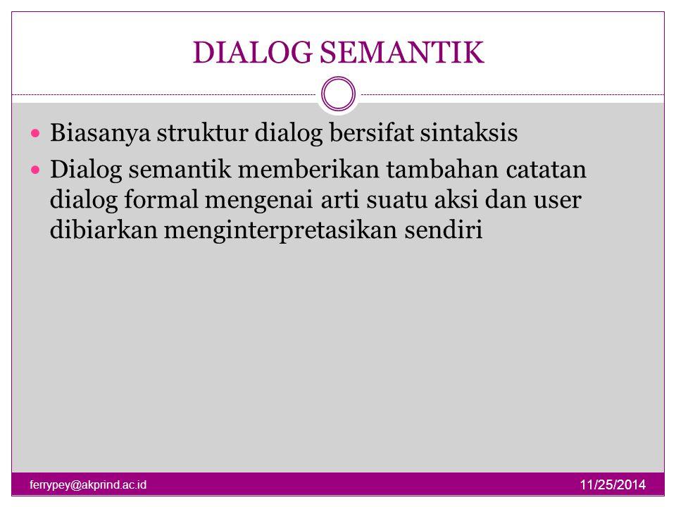 DIALOG SEMANTIK 11/25/2014 ferrypey@akprind.ac.id Biasanya struktur dialog bersifat sintaksis Dialog semantik memberikan tambahan catatan dialog forma