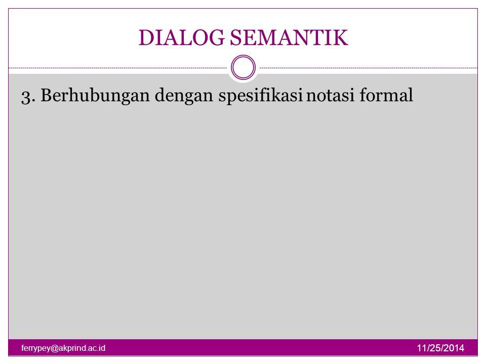 DIALOG SEMANTIK 11/25/2014 ferrypey@akprind.ac.id 3. Berhubungan dengan spesifikasi notasi formal