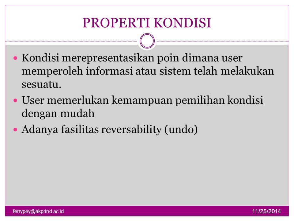 PROPERTI KONDISI 11/25/2014 ferrypey@akprind.ac.id Kondisi merepresentasikan poin dimana user memperoleh informasi atau sistem telah melakukan sesuatu