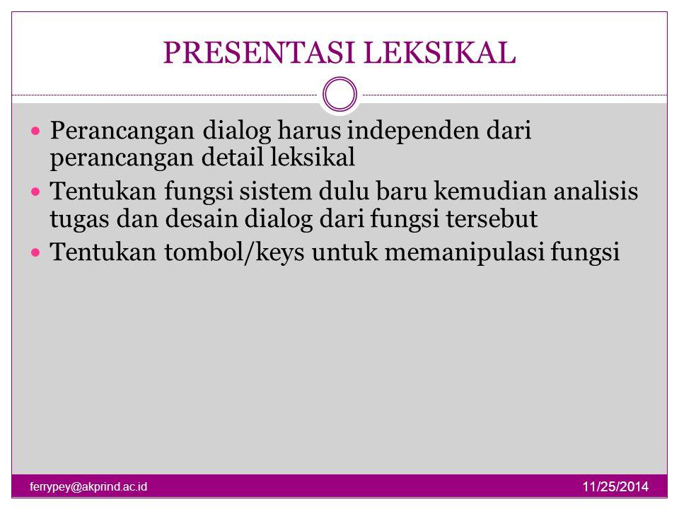 PRESENTASI LEKSIKAL 11/25/2014 ferrypey@akprind.ac.id Perancangan dialog harus independen dari perancangan detail leksikal Tentukan fungsi sistem dulu