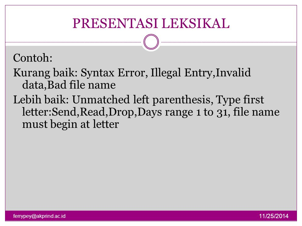 PRESENTASI LEKSIKAL 11/25/2014 ferrypey@akprind.ac.id Contoh: Kurang baik: Syntax Error, Illegal Entry,Invalid data,Bad file name Lebih baik: Unmatche