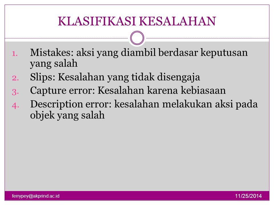 KLASIFIKASI KESALAHAN 11/25/2014 ferrypey@akprind.ac.id 1. Mistakes: aksi yang diambil berdasar keputusan yang salah 2. Slips: Kesalahan yang tidak di