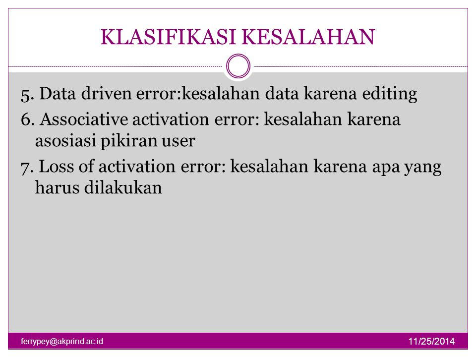 KLASIFIKASI KESALAHAN 11/25/2014 ferrypey@akprind.ac.id 5. Data driven error:kesalahan data karena editing 6. Associative activation error: kesalahan