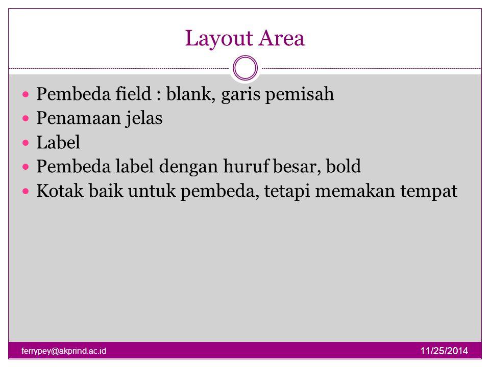 Layout Area 11/25/2014 ferrypey@akprind.ac.id Pembeda field : blank, garis pemisah Penamaan jelas Label Pembeda label dengan huruf besar, bold Kotak b