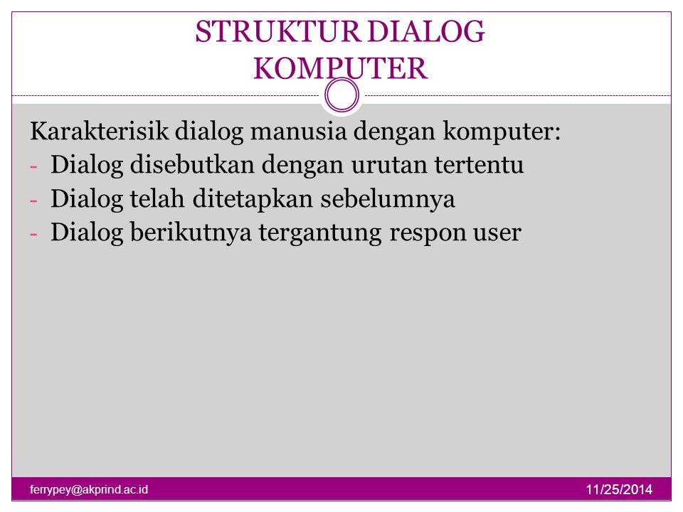 STRUKTUR DIALOG KOMPUTER 11/25/2014 ferrypey@akprind.ac.id Mungkin tidak mengakomodasi semua kemungkinan Deskripsi dialog berada pada level sintaksis (bukan semantik) Beberapa dialog dilakukan secara bersama-sama