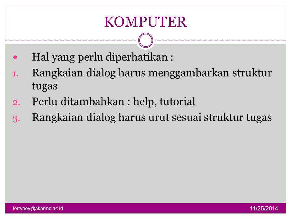 STRUKTUR DIALOG KOMPUTER 11/25/2014 ferrypey@akprind.ac.id Hal yang perlu diperhatikan : 1. Rangkaian dialog harus menggambarkan struktur tugas 2. Per
